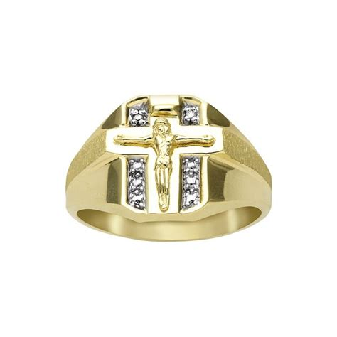 18k gold sterling silver accent crucifix ring