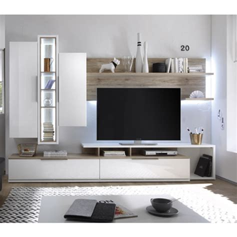 medox lcd tv stand in high gloss white with 2 storage