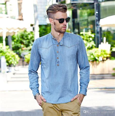 Sleeve Washed Denim Shirt 2018 new cotton washed denim shirt sleeve