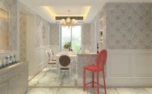 exceptional Brick Wallpaper Living Room Ideas #5: 3D-dining-room-with-wallpaper-and-high-chair.jpg