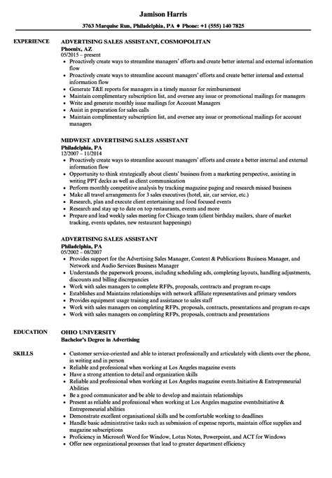 Advertising Sales Assistant Sle Resume by Sales Assistant Resume Sle Gmagazine Co