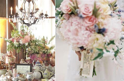 romantic vintage wedding reception decor flowers pastel