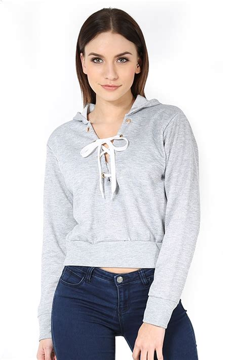 Sleeve Hooded Cropped Top womens sleeve cropped top fleece pullover