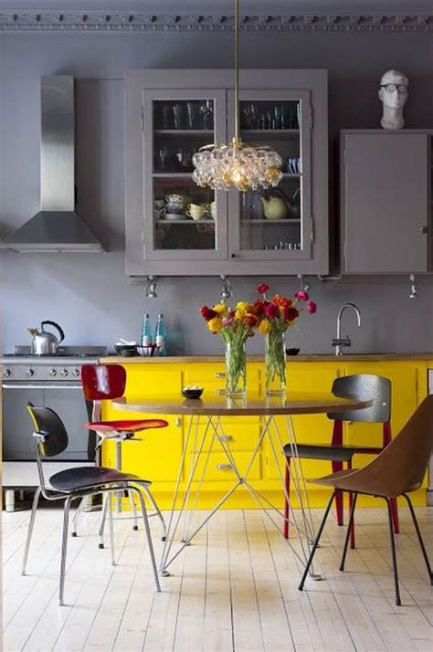gray and yellow kitchen how to decorate the kitchen using yellow accents