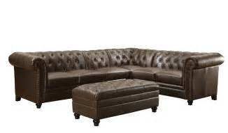 Leather Tufted Sofa 4 Coaster Roy Button Tufted Brown Leather Sectional Set