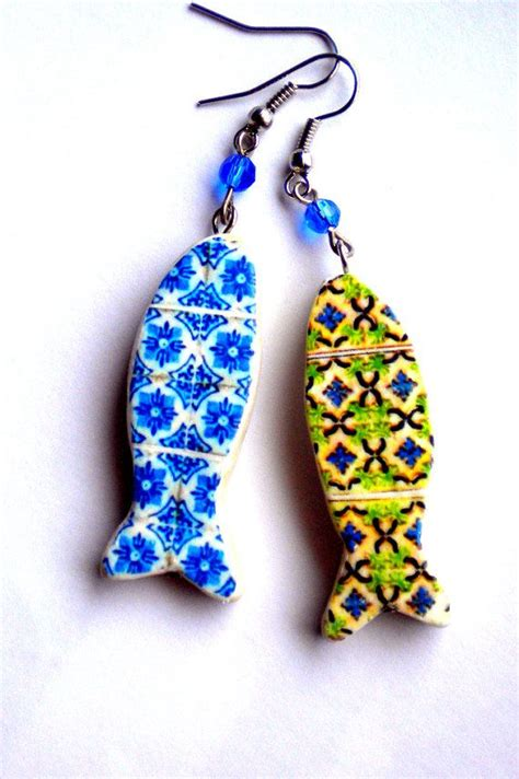 azulejo earrings portugal antique azulejo tile replica sardine earrings