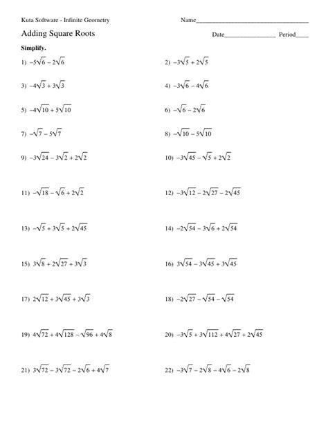 kutasoftware infinite algebra 2 smart kuta software infinite 1 adding square roots