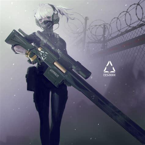 wallpaper anime girl mask headset rifle white hair