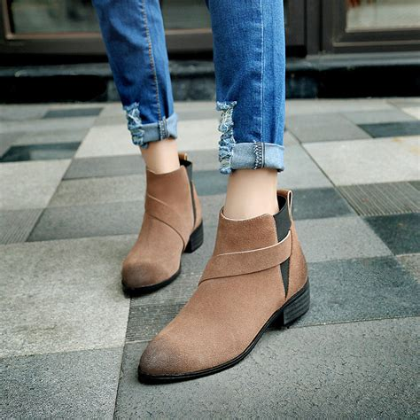 Heels Boot Korea Gds 284 winter boots ankle boots fashion korean low heels martin boots bilateral zip motorcycle