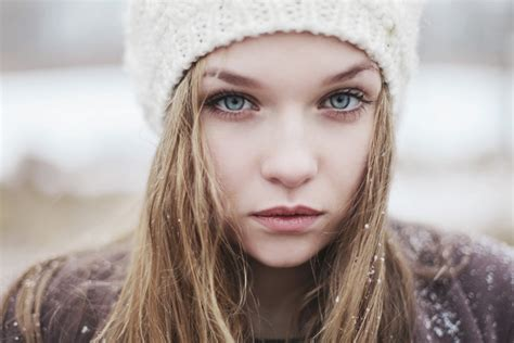 girl with brown hair in snow wallpaper face women outdoors model blonde long hair