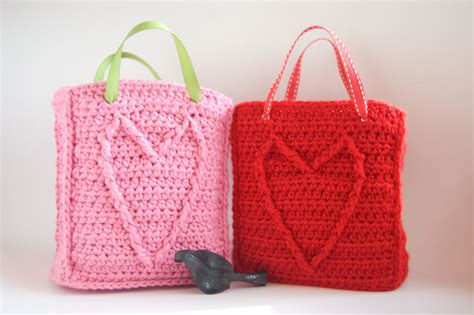 pattern gift bags handmade love with valentine s day crochet