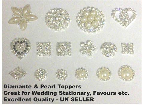 card embellishments uk stick on pearl diamante wedding invitation card
