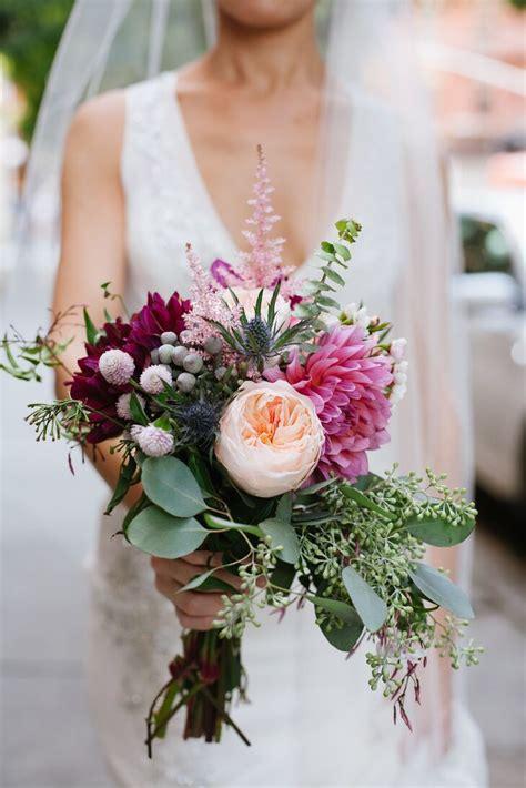 seeded eucalyptus dahlia astilbe  thistle bridal bouquet