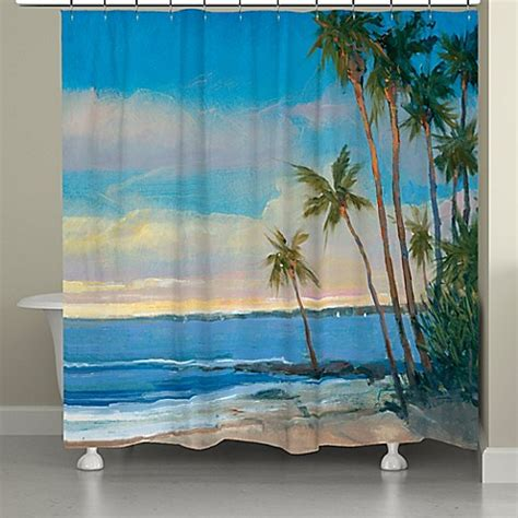 tropical shower curtains laural home 174 tropical breeze shower curtain bed bath