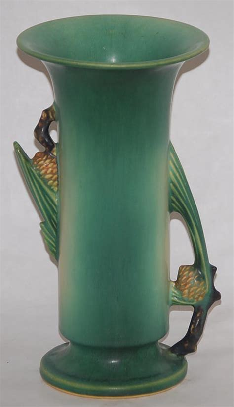 roseville pottery pine cone green vase for sale antiques