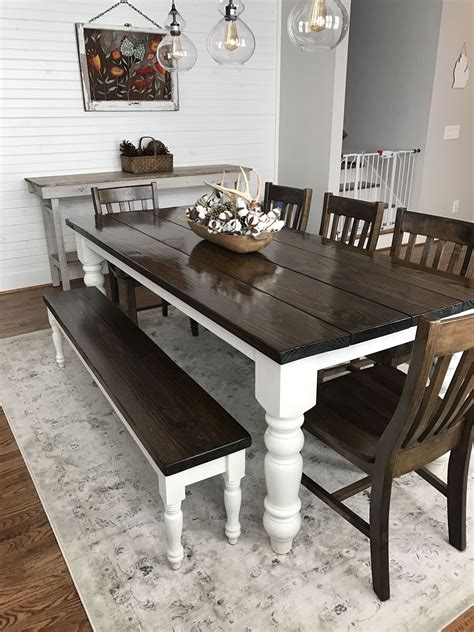 straight bench w round table dining room chairs custom built solid wood modern farmhouse dining furniture