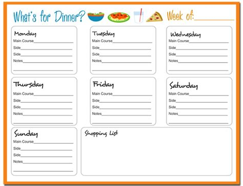 printable blank dinner menu planner 6 best images of printable monthly menu sheets free