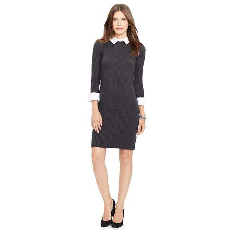 Rr716545 Dress Grey Collar ralph contrast collar sweater dress in gray lyst