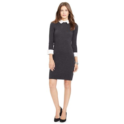 Ralph lauren Contrast collar Sweater Dress in Gray   Lyst