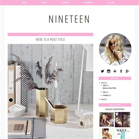 evelyn rose pastel pink responsive blogger template nineteen a pink coloured blogger blogspot template