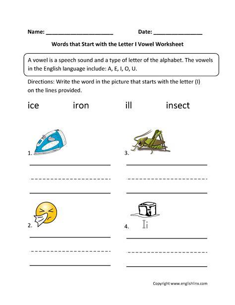 words that begin with the letter i vowel worksheets general vowel worksheets 855   Words Start Letter I Vowel Worksheet