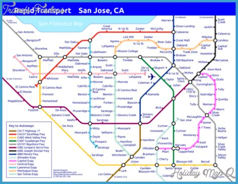 san jose light rail map san jose metro map holidaymapq com