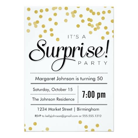 confetti surprise party invitation zazzle com