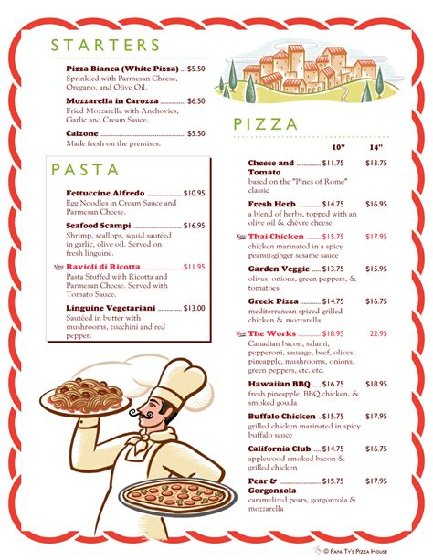 pizza menu templates menupro 183 menu design sles from menupro menu software