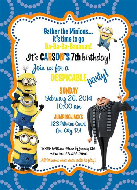 minion invitations template 25 best ideas about minion birthday invitations on