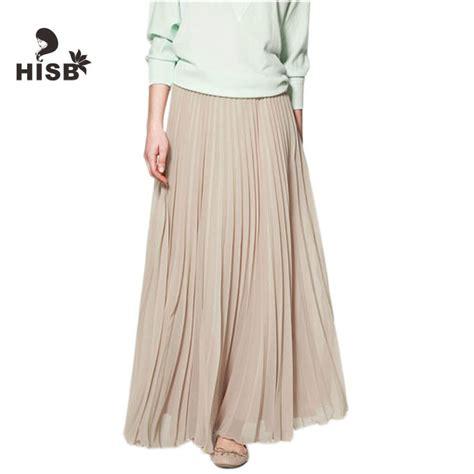 vintage high waist pleated chiffon skirt plus size orange boho maxi skirts