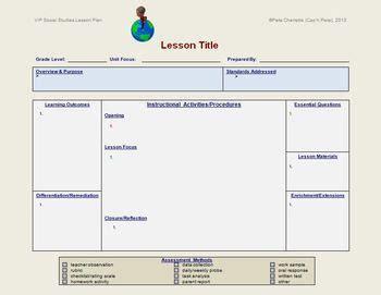 Lesson Plan Template Social Studies Teacherspayteachers Com Social Studies Intermediate Designing Coherent Template