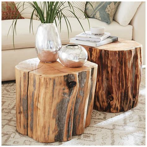 Reclaimed Wood Stump End Tables Pottern Barn Splurge