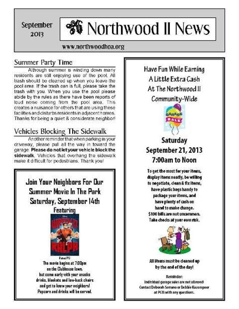 community newsletter template september 2013 northwood ii nwii hoa community
