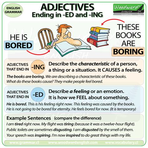 define biography verb adjectives ending in ed and ing in english english