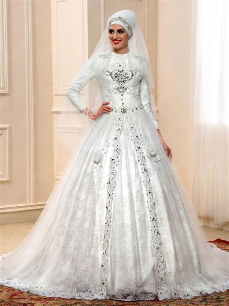 Muslim Wedding Dress by Luxurious Lace Beading Flower Applique Court Muslim