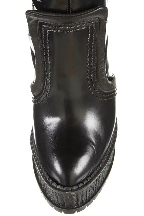 unique boots topshop unique pull on knee high boots in black lyst