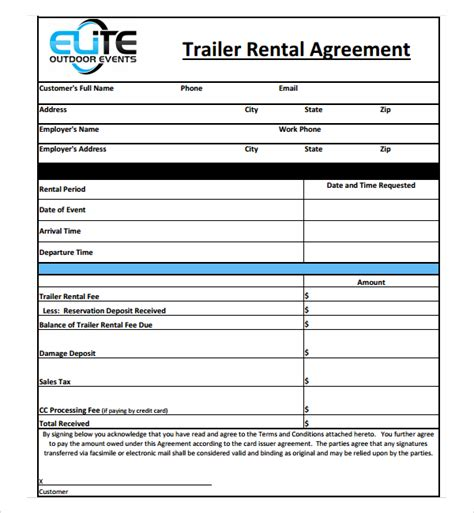 free trailer templates sle trailer rental agreement template 7 free
