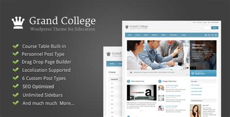college themes wordpress grand college wordpress theme for education by