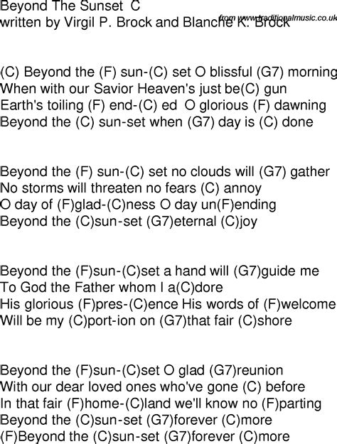 Old time song lyrics with chords for Beyond The Sunset C
