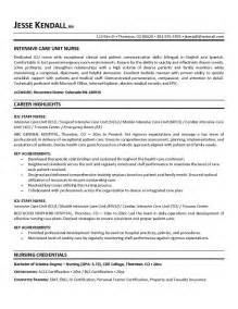 exle icu intensive care unit resume free sle