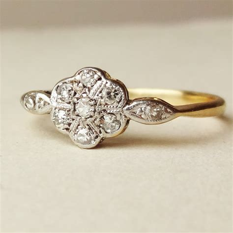 deco flower ring antique engagement ring by