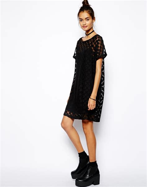 Dress Anak 1 3 T lyst asos t shirt dress in spot mesh in black