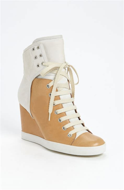 high top wedge sneakers see by chlo 233 high top wedge sneaker in white ivory lyst