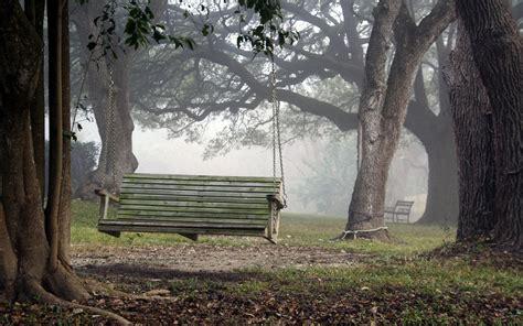 swing wallpaper mood landscapes swing bench chair fog wallpaper