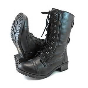 Faux Leather Photo Albums Military Combat Mid Calf Motorcycle Lace Up Women Boots