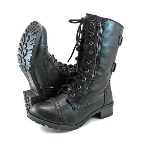 women s lightweight motorcycle boots military combat mid calf motorcycle lace up women boots