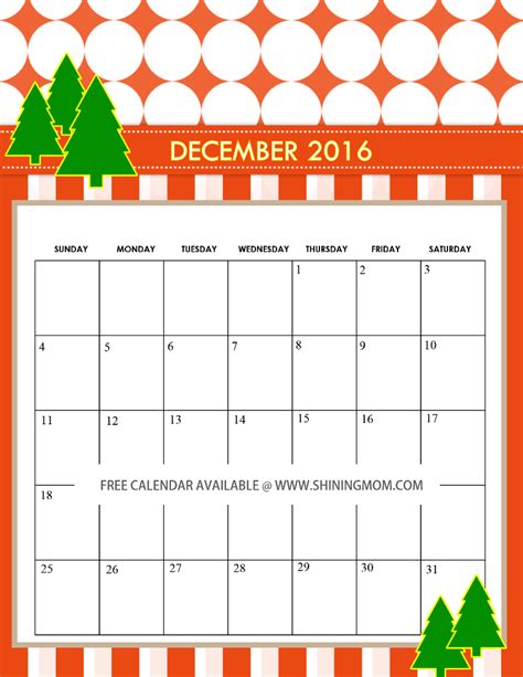 free december 2016 calendars christmas themed designs