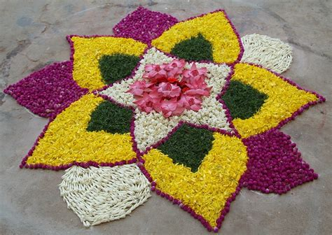 flower pattern rangoli design rangoli designs rangoli made from flowers and leaves