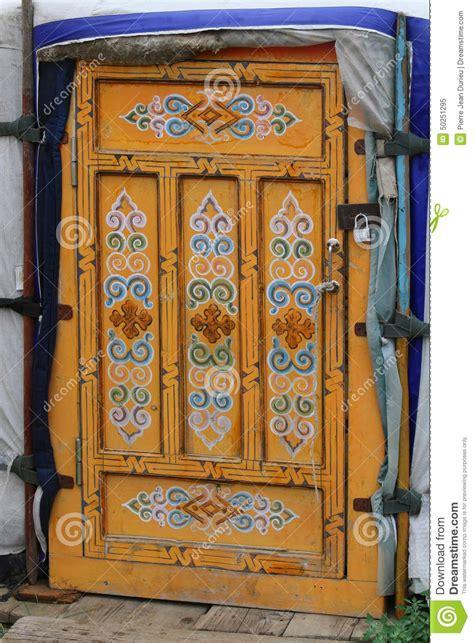 decorated door decorated door of a mongolian yurt stock photo image