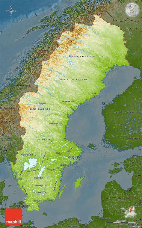 physical map of sweden physical map of sweden darken